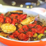 Kate Humble roasted ratatouille with courgette peppers and aubergine recipe on Escape To The Farm