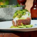 James Martin BBQ steak with Mozzarella and green tomato salsa recipe on James martin's Saturday Morning