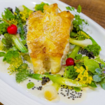 John Williams fillet of turbot with spring vegetables, Champagne sauce and caviar recipe on James Martin's Saturday Morning