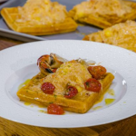 James Martin cromer crab waffles with roasted tomatoes recipe on James Martin's Saturday Morning