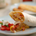 John Torode cheats breakfast omelette wrap with bacon, cheese and hash browns recipe on John and Lisa's Weekend Kitchen