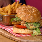 Phil Vickery chicken Caesar salad burger with fries recipe on This Morning