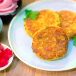 Gok Wan Thai corn cakes with pickled cucumber, daikon and red onions recipe on Gok Wan's Easy Asian