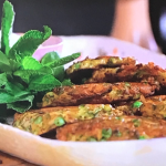 Lisa Faulkner and John Torode courgette and pea fritters recipe on John and Lisa's Weekend Kitchen