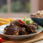 John Torode jerk chicken served with rice and peas recipe on John and Lisa's Weekend Kitchen