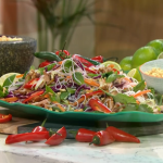 Tom Rhodes sizzling summer salad with chicken thighs, mayonnaise, ginger, lime and noddles recipe on This Morning