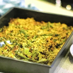 Kate Humble pangrattato with spelt and spring vegetables tray bake recipe on Escape To The Farm
