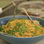 Kate Humble crab and chilli linguine with lemon, hawthorn and rocket recipe on Escape To The Farm