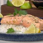 Nisha Katona G and T salmon traybake with juniper berries recipe on This Morning