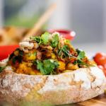 Lisa Faulkner sunshine prawns in a bread bowl recipe on John and Lisa's Weekend Kitchen