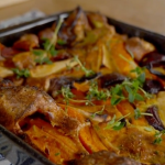 Amanda Owen roast vegetables toad in the hole with Yorkshire pudding and onion gravy recipe on This Morning