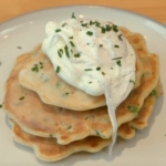 Matt Hulme sweetcorn courgette fritters with peas and poached eggs recipe on Eat Well For Less?