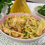 Clodagh Mckenna 10 minutes linguine with prawns, ginger and chilli recipe on This Morning