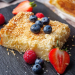 Simon Rimmer coconut mochi cake with berries recipe on Sunday Brunch