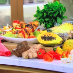 Ainsley Harriott chargrilled chicken and pineapple skewers with coconut slaw recipe on This Morning