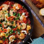 Georgina Hayden prawn and feta saganaki recipe on Sunday Brunch