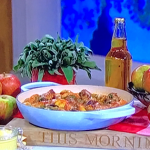 Clodagh Mckenna sausage with apple and cider casserole recipe on This Morning