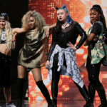 Alien X Factor girl group members dressed to impress singing Pump It by the Black Eyed Peas